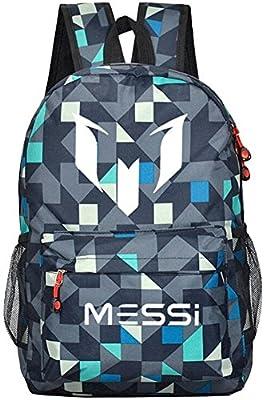 Tideshop Lionel Messi Logo Barcelona Casual Laptop Backpack Cosplay Schoolbag Camouflage Blue