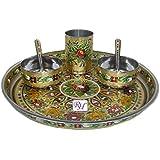 Dinnerware Set Of Stainless Steel MeenaKari Worked 2 Bowls 2 Spoon 1 Glass & 1 Tray