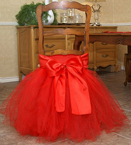 Stuffwholesale Tutu Chair Skirt Prom Party Baby Shower Handmade Tulle Chair Cover with Satin Bow Knot (Red)