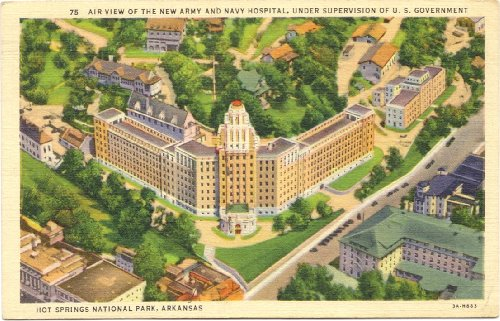 1930s Vintage Postcard - Army and Navy Hospital - Hot Springs National Park - Arkansas