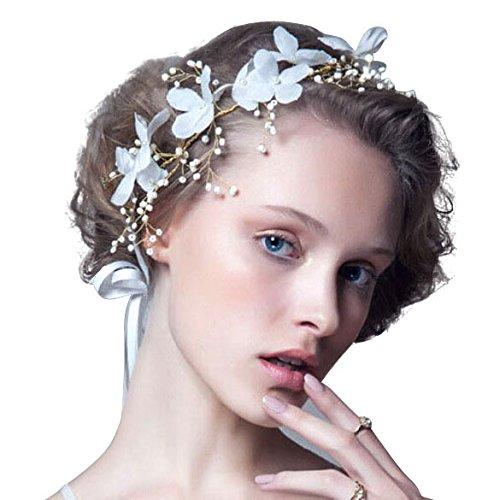 Vktechウェディング花嫁 髪 飾り 花モチーフ ヘッド ドレス カチューシャ コサージュ 髪飾り 和装にも 結婚式 ティアラ 花冠 披露宴  二次会 結婚式