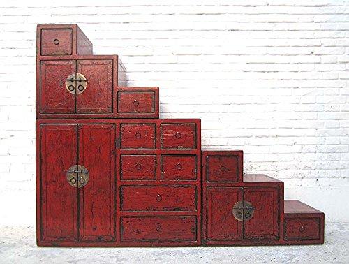Chine commode grand escaliers rouge-brun de nombreux tiroirs poignées en laiton des 2 côtés amovibles luxury park