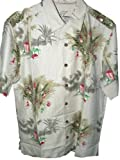 Tommy Bahama Partridge in a Palm Tree Christmas Camp Shirt (Color: Khaki Sands, Size L)