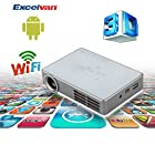 Excelvan® 2014 NEW Android4.2 Internet 1280*800 Mini 3D DLP HD Projector with HDMI, Built-in Speaker, Support 1080P, WIFI, for Home Theater, Education and Business+Universal Bluetooth 3D Active Shutter Glasses