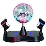 Lightahead® LED Peak Due Rotating Mirror Disco Ball with 2 Adjustable LED Light Projector Lamps