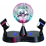 Lightahead® LED PEAK DUE Mirror Disco ball Rotating with 2 adjustable LED Light projector Lamps