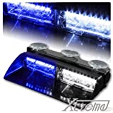 Xtreme® White & Blue 16 LED High Intensity LED Law Enforcement Emergency Hazard Warning Strobe Lights For Interior Roof / Dash / Windshield With Suction Cups