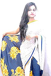 Aradhya Women's Off-white Printed Crepe Saree with Blouse Piece
