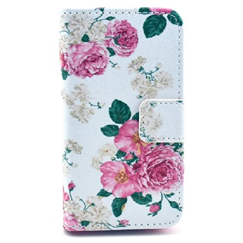 Luv You Iphone 4 4S 4G Case,Pink Rose Print Series Style Lv-Yo Design Style Beautiful High Quality Luxury Premium Pu Leather Feature Flip Magnet Wallet Stand Smart Case Cover Protective With Id Credit Card Holder Slots Cute Tpu Case Fit For Apple Iphone V front-613747