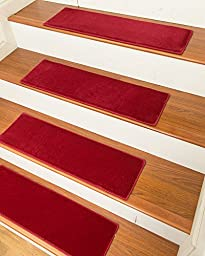 NaturalAreaRugs Auckland Carpet Stair Treads with Peel and Stick Strips Rug (Set of 13), 9-inch x 29-inch