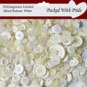 1 Bag Of 100g Art & Craft WHITE Sewing BUTTONS. Various Sizes from POLYBAGSTORES LIMITED