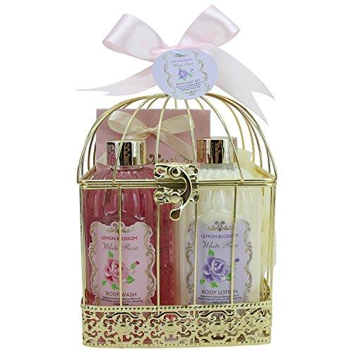 Gloss! 14CN17-R Cage Bath, Lemon Blossom, Pink Lilies e Fresia, gelsomino e Magnolia, 4 Pezzi, Rosa