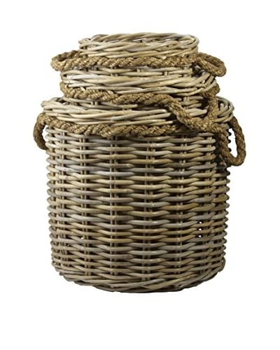 Set of 3 Woven Rattan Nesting Baskets, Natural