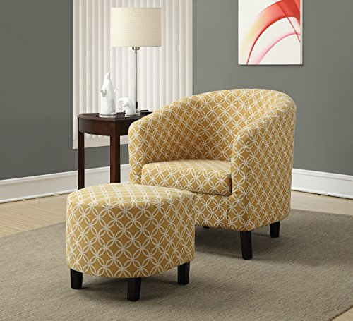 "Monarch Specialties Burnt Yellow ""Circular"" Fabric Accent Chair/Ottoman, 30-Inch"