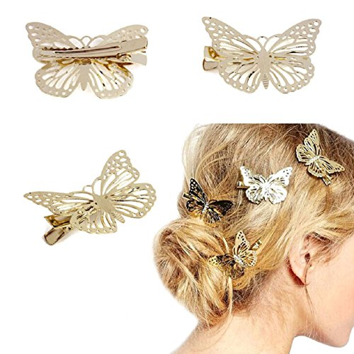Malloom® Golden Butterfly Hair Clip Headband