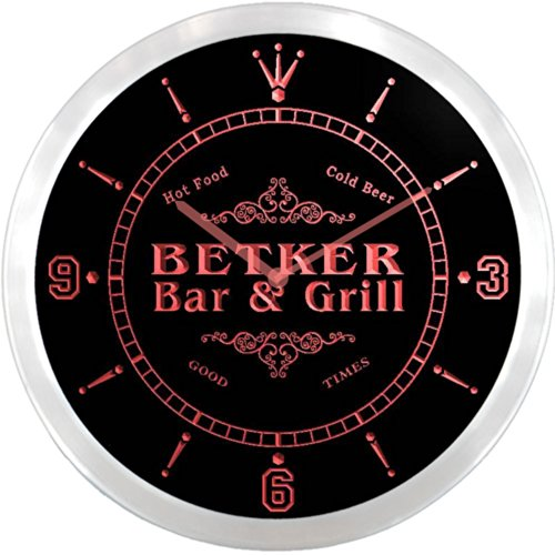 ncu03529-r BETKER Family Name Bar & Grill Cold Beer Neon Sign LED Wall Clock