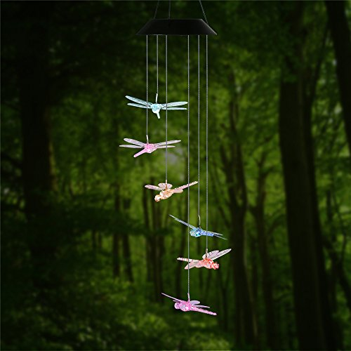Changing Color Dragonfly Wind Chime, AceList Spiral Spinner Windchime Portable Outdoor Decorative Romantic Windbell Light for Patio, Deck, Yard, Garden, Home, Pathway (Wind Mobile compare prices)