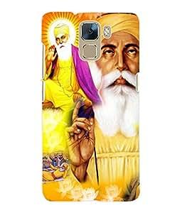 Fuson 3D Printed Lord Guru Nanak Designer Back Case Cover for Huawei Honor 7 - D530