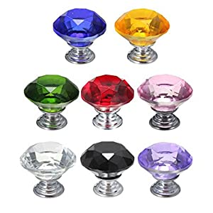 eBus 12X Crystal Glass Diamond Shape Cabinet Knob Cupboard Drawer Pull Handle from Fashion-Top