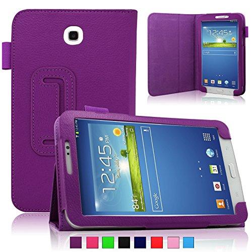 Infiland Folio PU Leather Stand Case Cover For Samsung Galaxy Tab 3 7.0 SM-T210R/T211 (Samsung Galaxy Tab 3 7.0 SM-T210R, Purple)