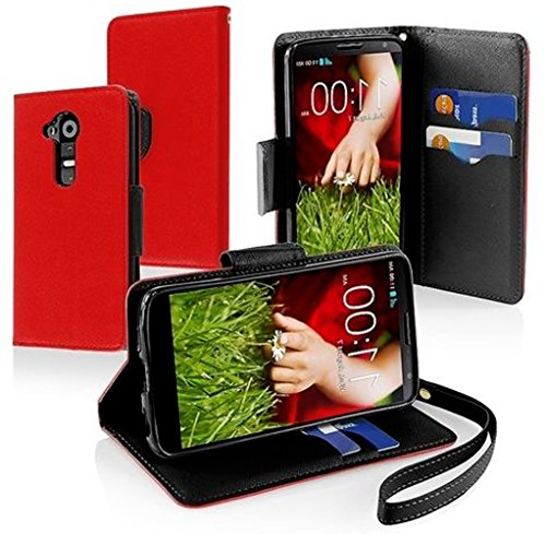 Mylife True Red + Classic Black {Classic Design) Faux Leather (Multipurpose - Card, Cash And Id Holder + Magnetic Closing) Folio Slimfold Wallet For The Lg G2 Smartphone (External Textured Synthetic Leather With Magnetic Clip + Internal Secure Snap In Clo