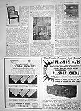 Old Original Antique Victorian Print 1910 Mahogany Bergere Chair Kastner Autopiano Waring'S 974M182