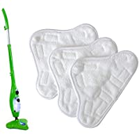 Thane Set of 3 H2O X5 Steam Floor Cleaner Mop Microfibre Replacement Refill Reusable Washable Velcro Mount Pads