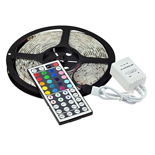 EconoLed 16.4FT SMD 5050 Waterproof 300LEDs RGB Flexible LED Strip Light Lamp + 44Key IR Remote Controller