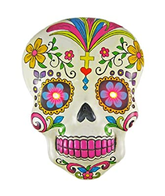 White DAY OF THE DEAD Skull Wall Hanging LED Eyes from Things2Die4