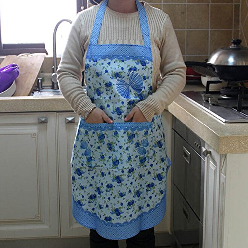 Stylish Rose Flower Pattern Women's Chefs Cooking Cook Apron Bib with Pockets Front how to cook with chef louie kids cookbooks box set with apron badges