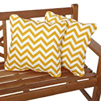 Mozaic Sabrina Corded Indoor/Outdoor Square Pillows, 18-Inch, Chevron Yellow, Set of 2 from Mozaic Dropship