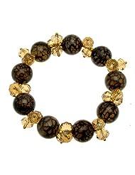 Acosta - Luxury Black Dragon Vein Agate & Topaz Swarovski Crystal Bead Bracelet