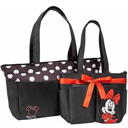 Disney Polka Dot Diaper Bag with Matching Minnie Mouse Mini Diaper Bag Set, Black/White, Large - 1