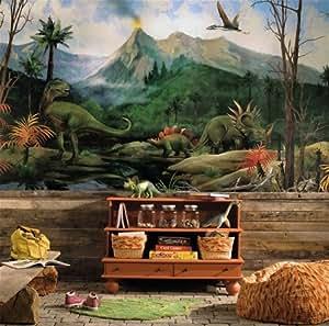 (72x126) Dinosaur Chair Rail Prepasted Mural