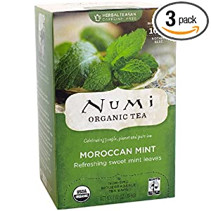 Numi Organic Tea Moroccan Mint, Full Leaf Herbal Teasan, Caffeine Free, 18-Count Tea Bags (Pack of 3)