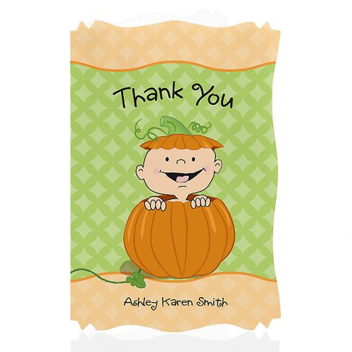 Little Pumpkin Caucasian - Personalized Baby Shower Thank You Cards front-160175
