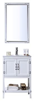 "Legion Furniture WH5824-W Wood Sink Vanity With Ceramic Top and Without Faucet, 24"", Matt White"