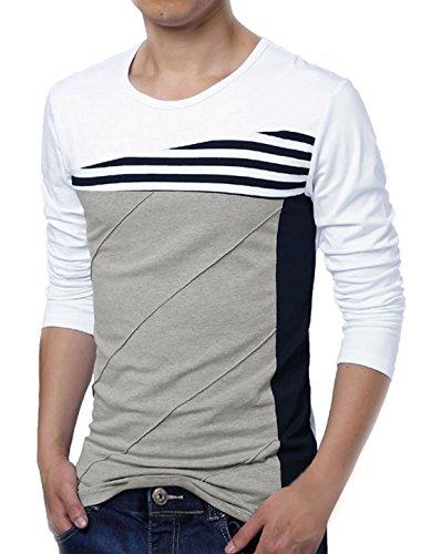 allegra-k-men-color-block-stripes-tee-shirt-l-white-grey