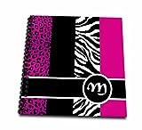 Janna Salak Designs Monogram Collection Elegant Animal Print Monogram Hot Pink M Memory Book 12 X 12 Inch (Db 35622 2)