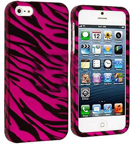 Mylife Hot Pink + Black Zebra Stripes Series (2 Piece Snap On) Hardshell Plates Case For The Iphone 5/5S (5G) 5Th Generation Touch Phone (Clip Fitted Front And Back Solid Cover Case + Rubberized Tough Armor Skin)