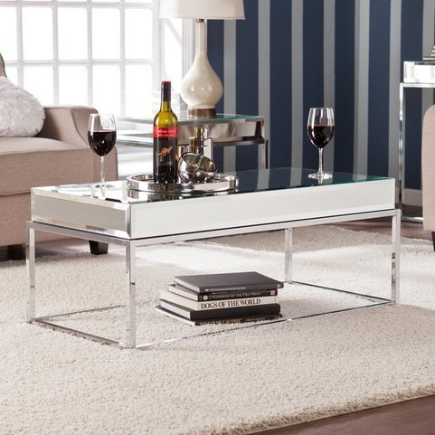 c4ff1aa03b9 Adelie Contemporary Mirrored Metal Living Room Coffee Cocktail Table. by upton  home