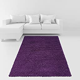 Soft Shag Area Rug 5x7 Plain Solid Color PURPLE - Contemporary Area Rugs for Living Room Bedroom Kitchen Decorative Modern Shaggy Rugs