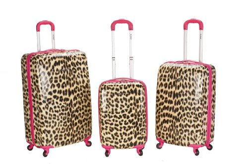 Rockland Luggage 3 Piece Leopard Upright Set, Pink Leopard, Medium special discount