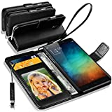 XIAOMI REDMI NOTE 3 Rich Leather Stand Wallet Flip Case Cover Book Pouch / Quality Slip Pouch / Soft Phone Bag (Specially Manufactured - Premium Quality) Antique Leather Case With Mini Touch Stylus Pen Black