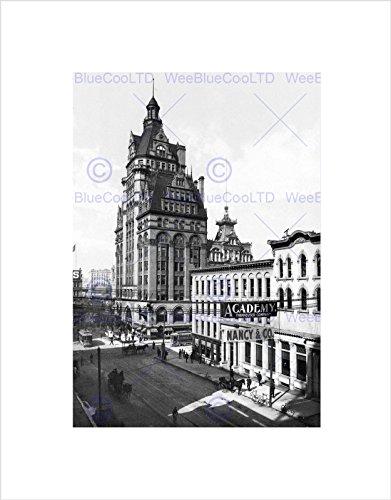 wisconsin-street-milwaukee-1900-vintage-old-bw-black-framed-art-print-b12x1407