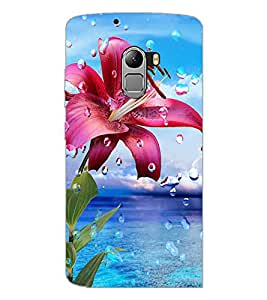 PrintDhaba Flower with Droplets D-1211 Back Case Cover for LENOVO K4 NOTE A7010 (Multi-Coloured)