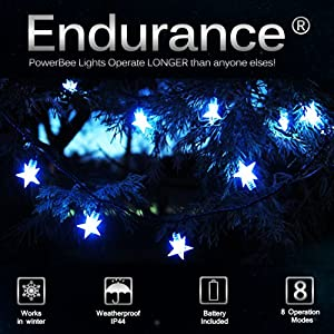 PowerBee ® Endurance Deluxe Solar Fairy Lights 100 WHITE STAR Quality Superbright LED's Multi Function Indoor / Outdoor Garden, Party, Tree Lights for ALL YEAR round use including winter from PowerBee Ltd