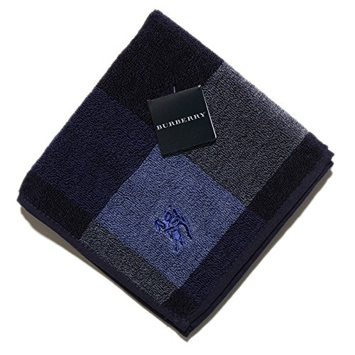 バーバリー BURBERRY ハンカチギフト クリスマスプレゼント タオル メンズ ブロックチェック ブルー 34356