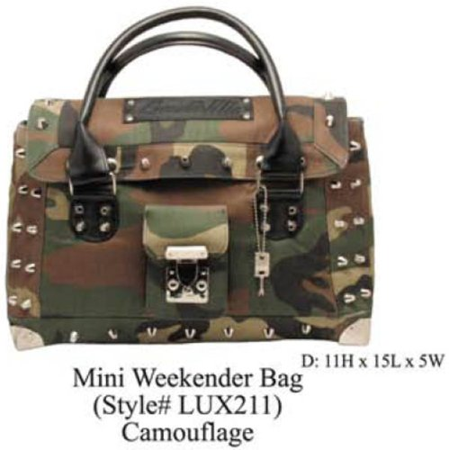 Lux De Ville Mini Weekender Camo Camoflauge Handbag Purse Rockabilly Punk