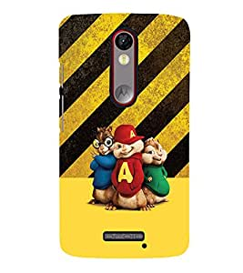 PrintVisa Cute Cartoon Chipmunks 3D Hard Polycarbonate Designer Back Case Cover for Motorola Moto X Force